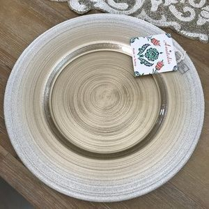 Gold Silver Glass Buffet Charger Serving Plate